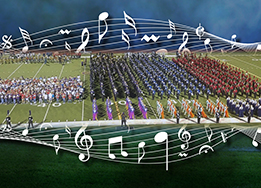 Graphic of all bands on the field at the 2017 Band Expo.